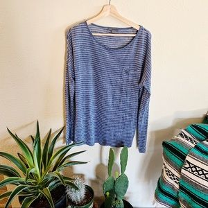 Vince Blue Stripped Long Sleeve Top